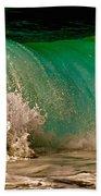 Aqua Green Wave Beach Towel