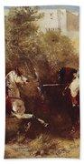 Arab Horsemen Beach Towel by Eugene Fromentin