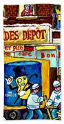 Arachides Depot Candy Shop Painting Rue De L'eglise Verdun Montreal Hockey Art Carole Spandau        Beach Towel