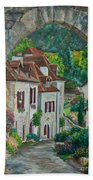Arch Of Saint-cirq-lapopie Beach Towel
