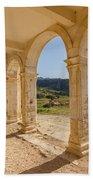 Arches And Stairs Of Derelict Agios Georgios Church Beach Towel