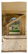 Arches, Entrance And Stairs Of Derelict Agios Georgios Church Beach Towel