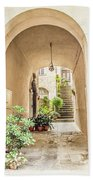 Archway And Stairs In Italy Beach Towel