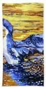 Arctic Loon On Golden Pond Beach Sheet