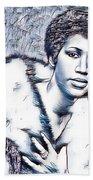 Aretha Franklin Portrait In Blue Beach Towel