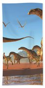 Argentinosaurus Herd Beach Towel