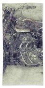 Ariel Square Four 1 - 1931 - Vintage Motorcycle Poster - Automotive Art Beach Towel