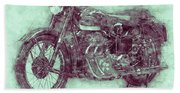 Ariel Square Four 3 - 1931 - Vintage Motorcycle Poster - Automotive Art Beach Towel