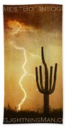 Arizona Saguaro Lightning Strike Poster Print Beach Towel