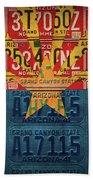 Arizona State Flag Vintage License Plate Art Beach Sheet