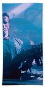 Arnold Schwarzenegger Firing Dual Em-1 Railguns Eraser 1996 Beach Towel