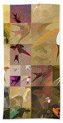 Arraygraphy - Birdies Sepia, Part 1 Beach Towel