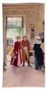 Arrival At The Inn Beach Towel by Charles Edouard Delort