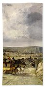 Arrival Of A Stagecoach At Treport Beach Towel