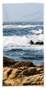 Arriving Tide At Pebble Beach Beach Towel