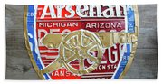 Arsenal Football Team Emblem Recycled Vintage Colorful License Plate Art Beach Towel