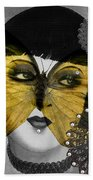 Art Deco Butterfly Woman Beach Towel