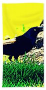 Art Deco Grackle Beach Towel