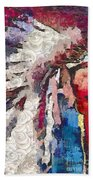 Art Indian Chief Pearlesques In Fragments  Beach Towel