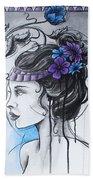 Art Nouveau Girl 1 Beach Sheet