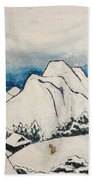 Art Of Japan And The Two Paths Of Shintoism And Buddhism - Holy Men In The Snow Without Abraham Beach Towel