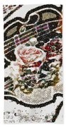 Art Violin And Roses Pearlesqued In Fragments  Beach Towel