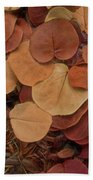Artfully Scattered Sea Grape Leaves Beach Towel