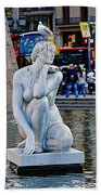 Artistic Statue That Has Gone To The Birds In Barcelona Beach Towel