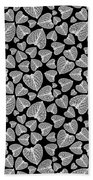 Black And White Leaf Abstract Beach Towel