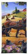 Raking Hay Field Rustic Country Farm Folk Art Landscape Beach Towel