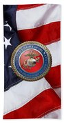 U. S. Marine Corps - U S M C Seal Over American Flag. Beach Towel