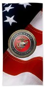 U S M C Emblem Over American Flag Beach Towel