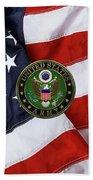 U. S. Army Emblem Over American Flag. Beach Towel