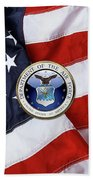 U. S.  Air Force  -  U S A F Emblem Over American Flag Beach Towel