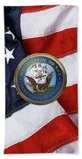 U. S.  Navy  -  U S N Emblem Over American Flag Beach Towel
