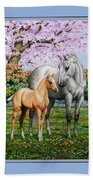 Spring's Gift - Mare And Foal Beach Towel by Crista Forest