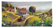 Appalachian Blackberry Patch Rustic Country Farm Folk Art Landscape - Rural Americana - Peaceful Beach Towel