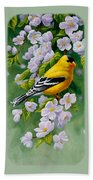 American Goldfinches And Apple Blossoms Beach Towel
