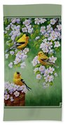 American Goldfinch Spring Beach Towel by Crista Forest