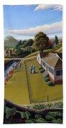 Appalachia Summer Farming Landscape - Appalachian Country Farm Life Scene - Rural Americana Beach Towel