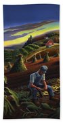 Autumn Farmers Shucking Corn Appalachian Rural Farm Country Harvesting Landscape - Harvest Folk Art Beach Sheet