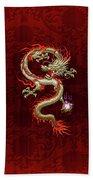 Golden Chinese Dragon Fucanglong On Red Silk Beach Towel