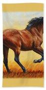 Running Horse - Evening Fire Beach Towel