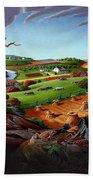 Appalachian Fall Thanksgiving Wheat Field Harvest Farm Landscape Painting - Rural Americana - Autumn Beach Towel