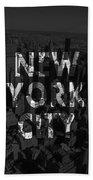 New York City - Black Beach Towel
