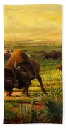 Buffalo Fox Great Plains Western Landscape Oil Painting - Bison - Americana - Historic - Walt Curlee Beach Towel