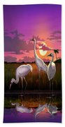 Whooping Cranes Tropical Florida Everglades Sunset Birds Landscape Scene Purple Pink Print Beach Towel