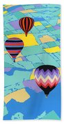 Abstract Hot Air Balloons - Ballooning - Pop Art Nouveau Retro Landscape - 1980s Decorative Stylized Beach Towel