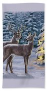 Whitetail Christmas Beach Sheet by Crista Forest
