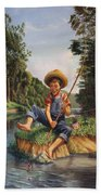 Americana - Country Boy Fishing In River Landscape - Square Format Image Beach Towel